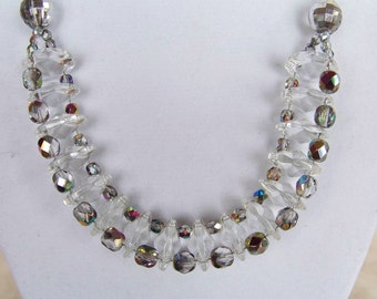 Sparkling beauty color accented chrystal necklace w earrings