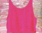 hot pink paint splatter crop tank