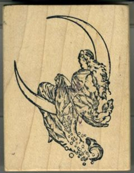 Woman on Moon Goddess Rubber Stamp by Alice in Rubberland Jack Keely