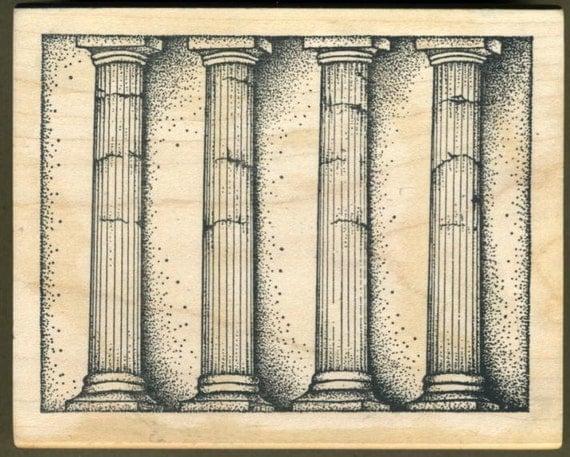 greek architectural columns rubber stamp pillars cracked