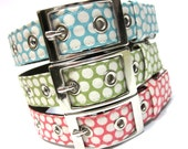 Dog Collar w/ Metal Buckle- Classic Dots in Pink, Blue, or Green
