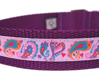 Custom Dog Collar- I Heart Paisley