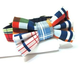Dog Bowtie, Bow tie Dog Collar, Dog Collar Bow, Bow Tie Attachment, Bowtie Dog Collar- Nautical Plaid Tommy Boy