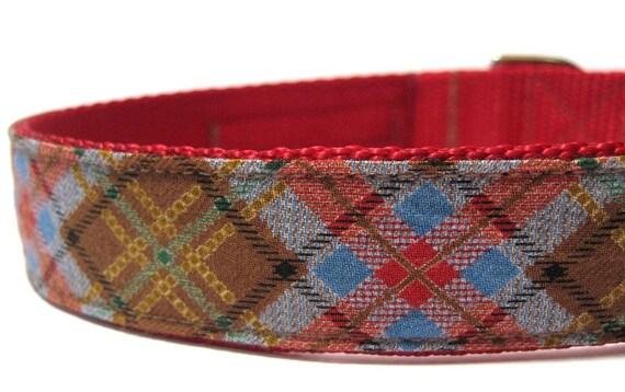 Plaid Dog Collar- Red Tartan