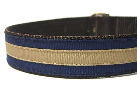 Dog Collar Handmade with Metal Buckle- Chloe's Classic Navy Stripes