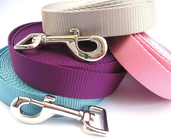 6ft Dog Leash- Choose any Color- Solid Color Webbing