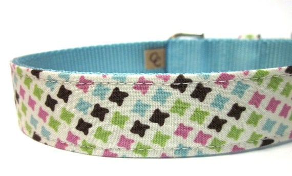 Dog Collar- Pink and Blue Heavenly Houndstooth