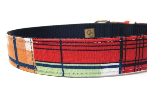 Tommy Boy Navy and Red Nautical Plaid Dog Collar