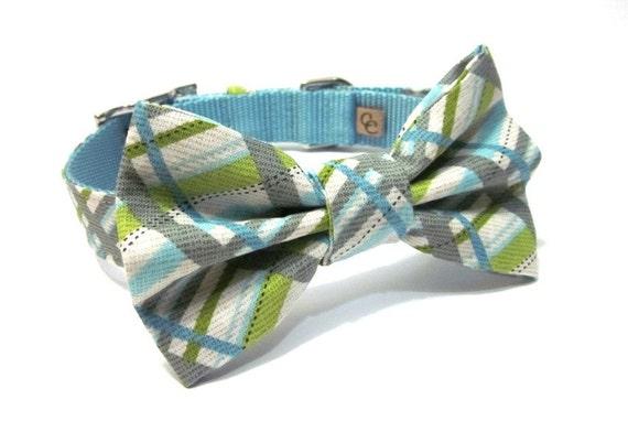 Plaid Bowtie Dog Collar- Silver Stud