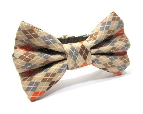 Dog Bowtie, Bow tie Dog Collar- Orange Argyle