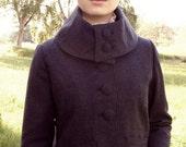 Women's high collar navy wool herringbone jacket
