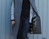 Fully lined Grey wool Cape with pockets