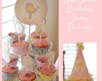Custom Little Birdie Birthday Party Package - Large DIY