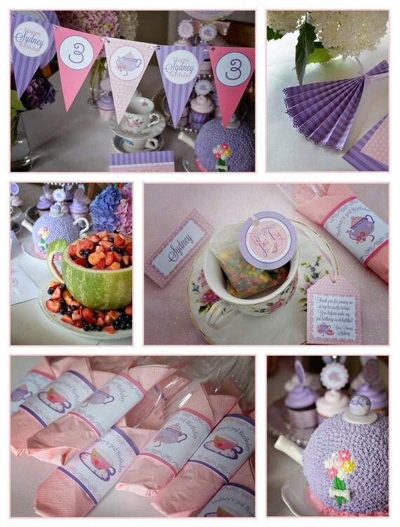 Tea Party - Afternoon Tea - High Tea - Custom Printable MEDIUM Party Package - DIY - Birthday Invitation - Bridal Shower - Baby Shower