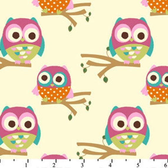David Textiles Hoot Owl On Branches Cream - 1 Yard