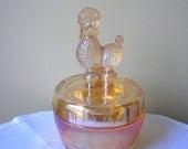 Vintage Jeannette Carnival Glass Poodle Powder Jar, Trinket Dish, Box