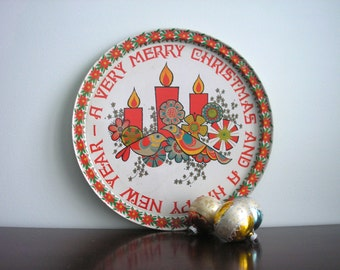 Vintage Christmas Partridge Christmas and New Years Metal Tray