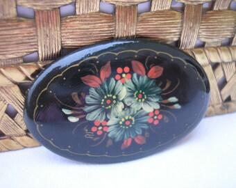 Vintage Handmade Tole Painted Brooch, Pin