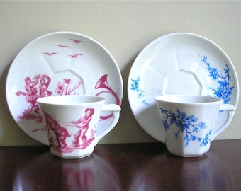 Vintage Demitasse Cups and Saucers, Rene Frugier, Limoges France