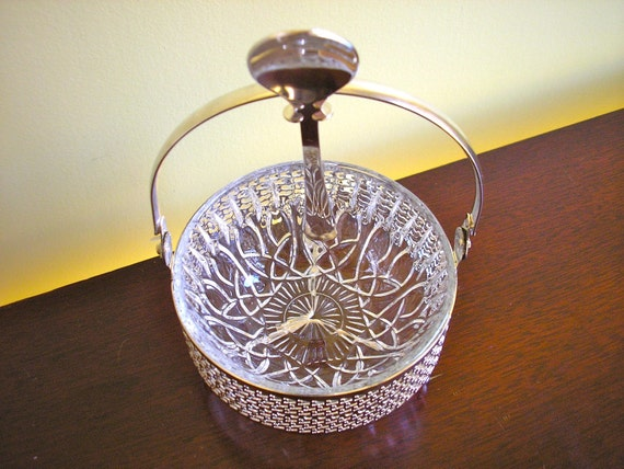 Vintage Silver Jam Bowl, Basket and Spoon