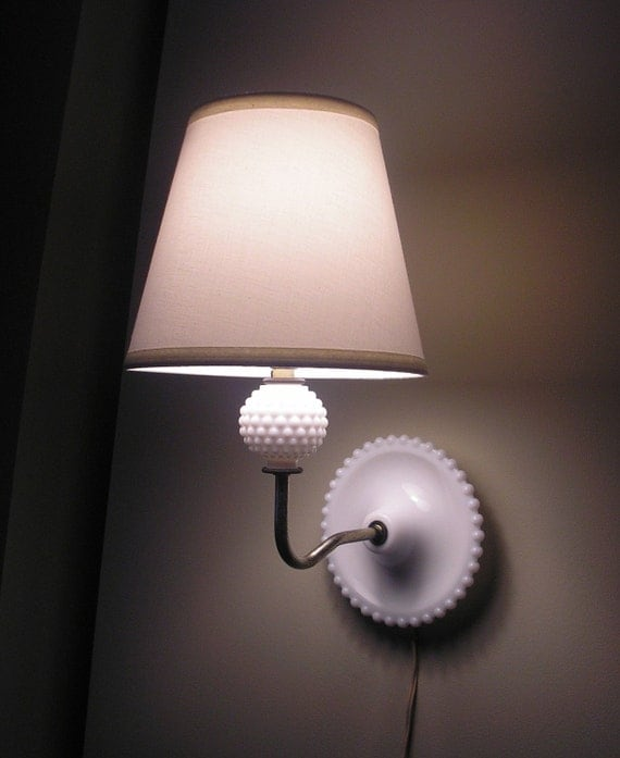 Small Electric Wall Sconces : Vintage Milk Glass Electric Wall Sconce