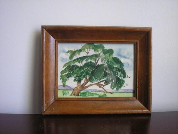 Vintage Framed Landscape Watercolor Painting