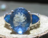 Vintage Designer Sterling Silver Ladies Ring with Blue Topaz Gemstone and Opal Inlay Size 7