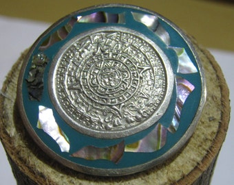 Vintage Mexico Alpaca Silver Brooch or Pendant Charm with Aztec Symbol with Mother of Pearl