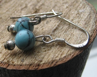 Hand Crafted Sterling Silver Earring with Turquoise Color Beads