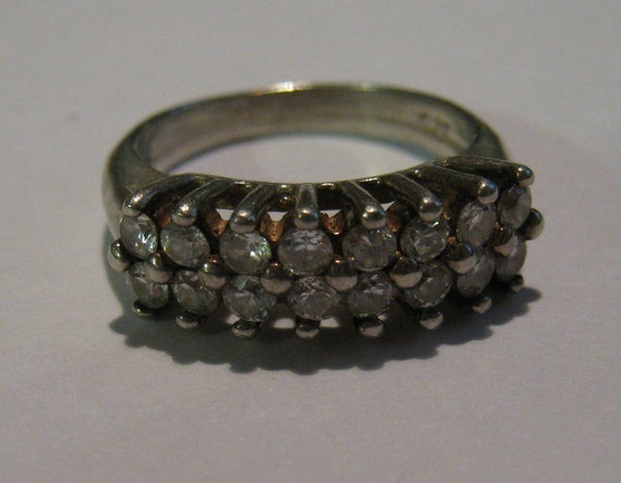 Vintage Sterling Silver Rhinestone Anniversary Type Ring or Band Ladies Ring Size 5 Simply Dazzling