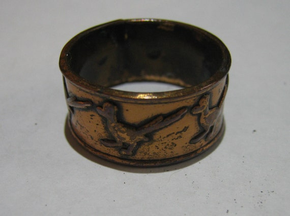 Vintage Early Copper Ring with Bird or Duck Designer Great Old Mens Ring Size 9 1/2 for the Hunter