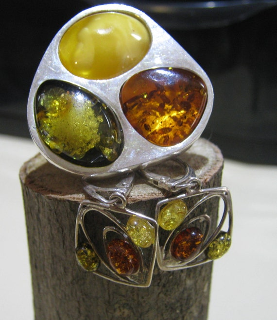Handmade Vintage Sterling Silver Matching Ladies Earrings and Ring with Amber Stones Artisan Made Size 10 Ring