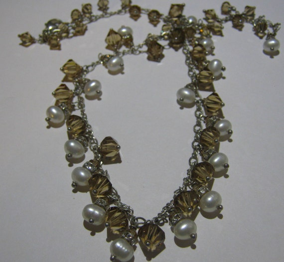 Sterling Silver Beaded Necklace with Champagne Swarovski Crystals, Pearls and Rhinestones Ladies