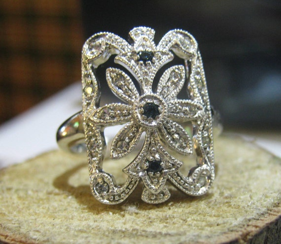 Bright Vintage Sterling Silver Jenna Nicole Ring with Aquamarine and Rhinestones Ladies Ring Size 8