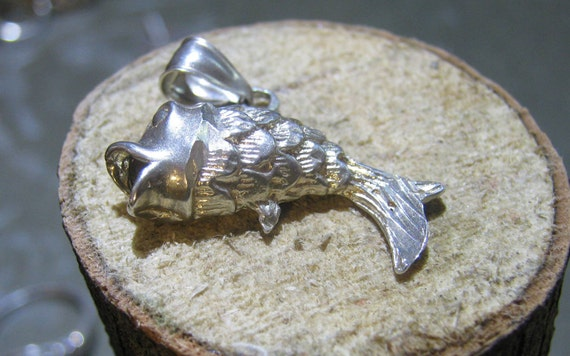Vintage Sterling Silver Koi Charm Pendant for Ladies Men or Children on a Small Sterling Necklace