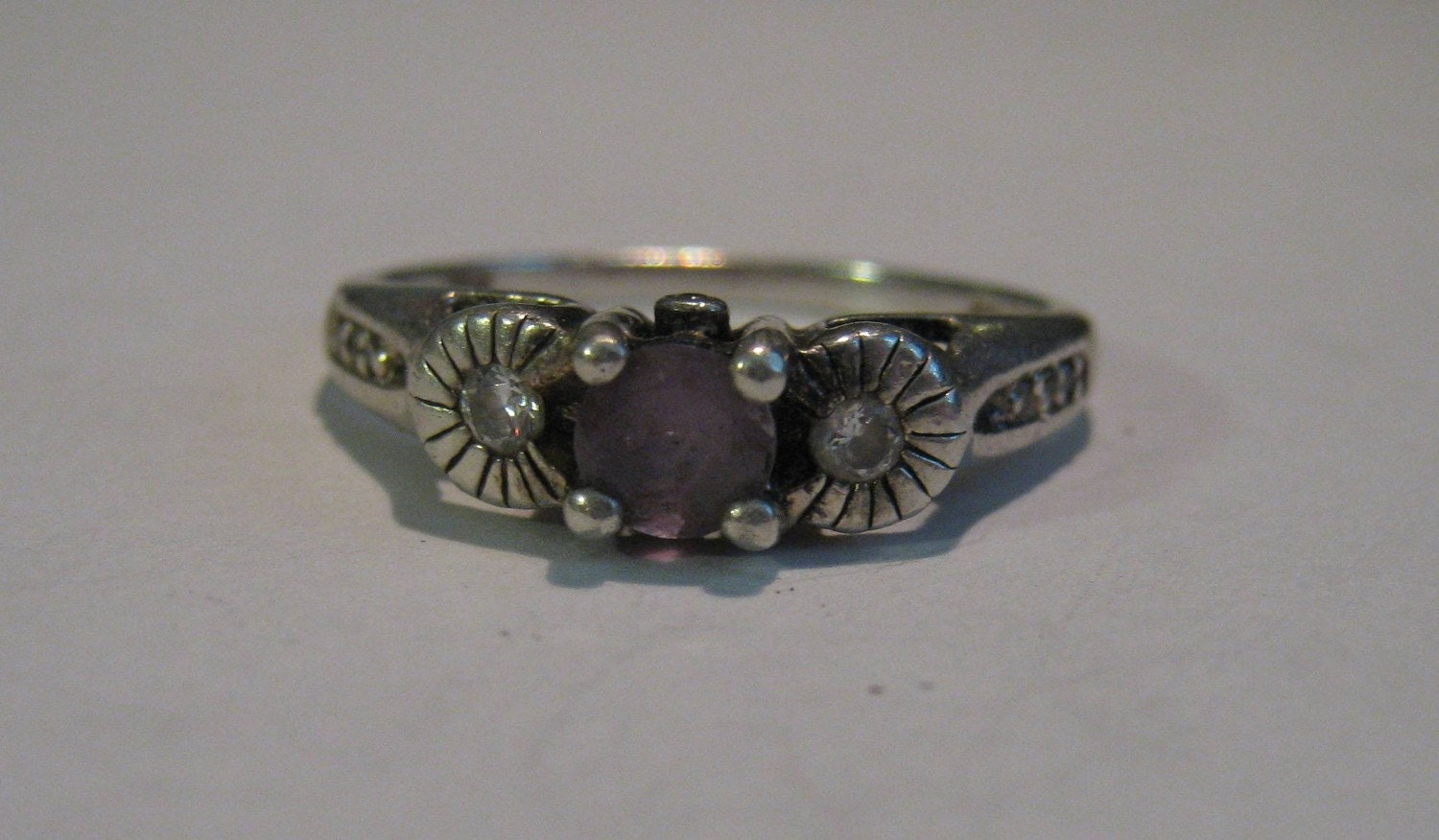Vintage Avon Sterling Silver Ladies Ring With Genuine Amethyst