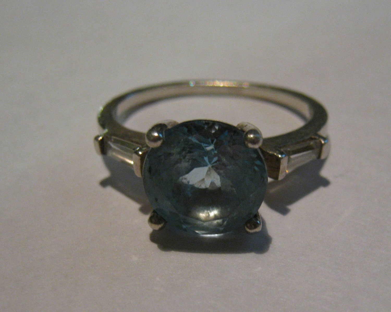 Vintage Avon Sterling Silver Ring With Blue Topaz And Bagget
