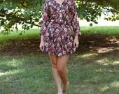 Vintage 80s Pleated Floral Mini Dress