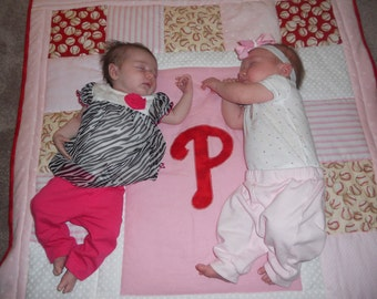 Customized Baseball Baby Quilt for Girls - Girls like sports too!