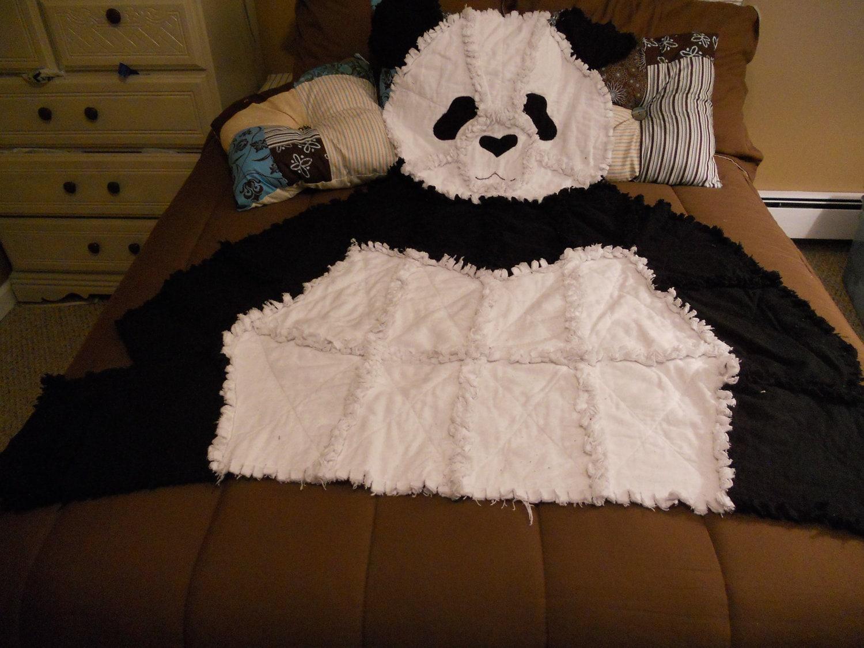 Animal Rag Quilt Baby Blanket Panda Bear Baby Blanket