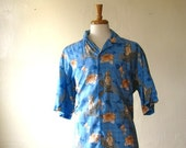 Vintage 1980s Men Mermaid Print Shirt