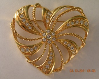 On Sale AVON  Heart Brooch Pin. Gold plate clear rhinestones. 1980s.