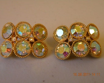 On Sale STANLEY aurora borealis clip on earrings.