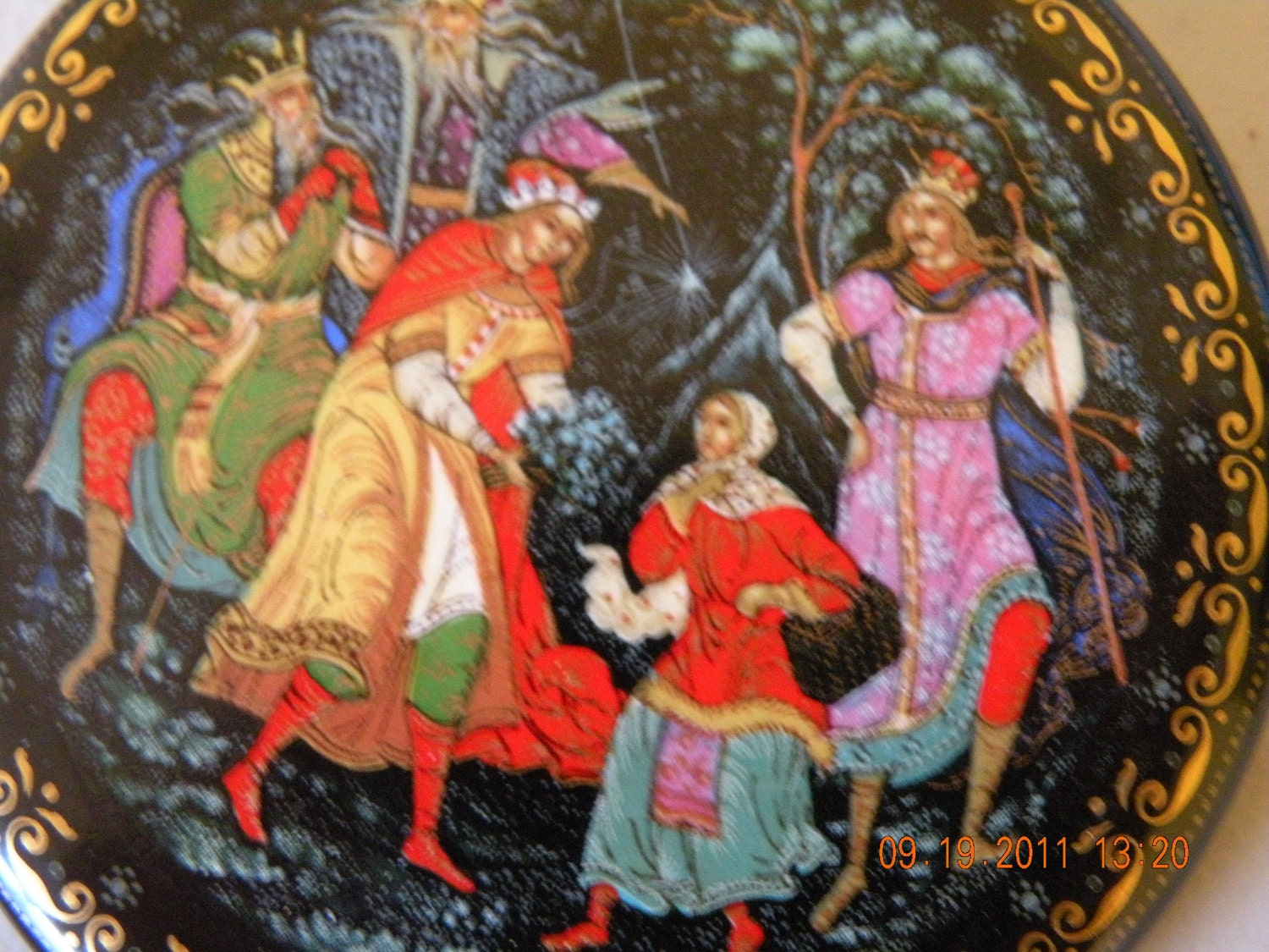 Sale Russian Christmas Ornament. The Twelve Month by Palekh