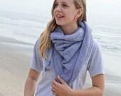 Bandana Style Gray Triangle Knit Scarf