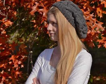 Dark Gray Cable Knit Slouch Hat