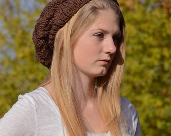 Brown Cable Knit Slouch Hat