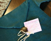 Teal shoulder strap purse w/ brown damask