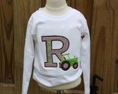 Appliqued Inital Tee with Tractor and matching lime corduroy pants