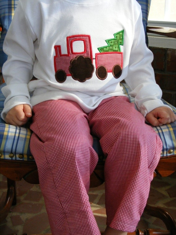 Boys Christmas Tractor outfit, red gingham, Gigi babies, boys outfit, toddler